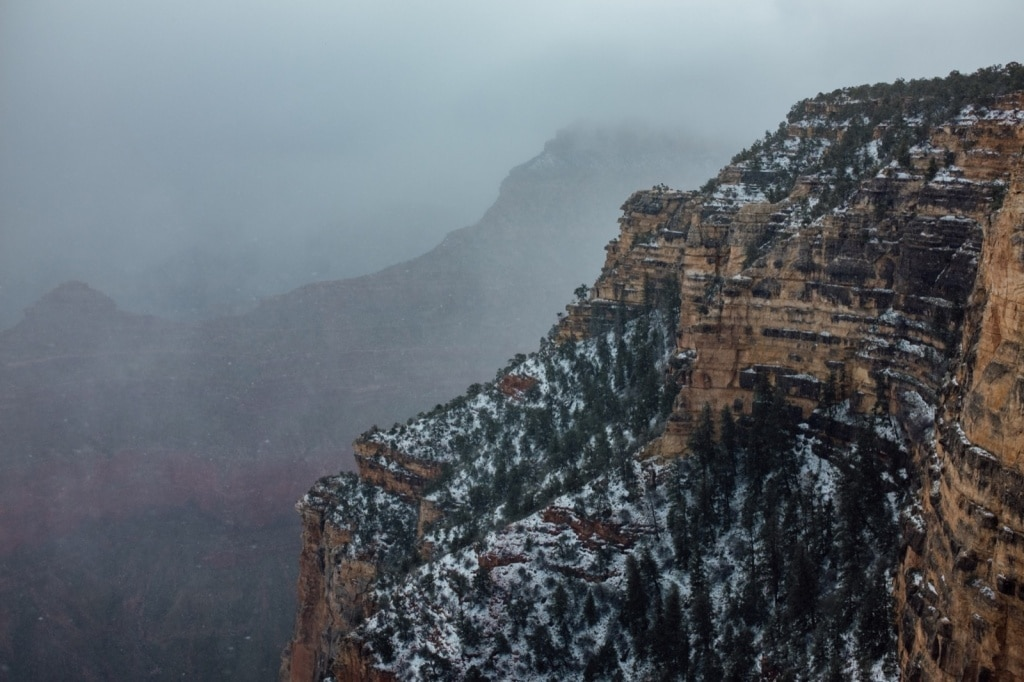Grand Canyon National Park in de sneeuw